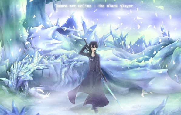 Picture cold, ice, weapons, dragon, sword, anime, art, guy, cloak, sword art online, kirito, asakurashinji