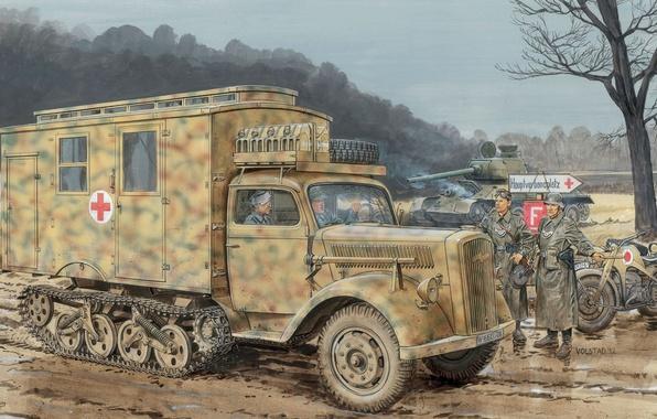 Photo wallpaper truck, war, art, German, Opel, company, figure, sanitary, Maultier, Sd.Car. 3, Ambulance, the roads