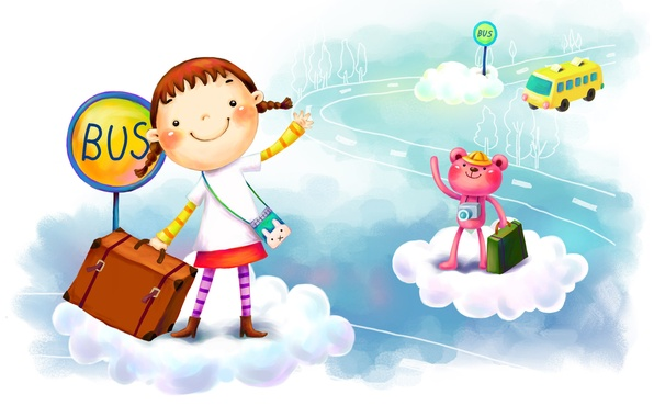 Picture clouds, fantasy, figure, girl, bus, suitcase, smile, animal