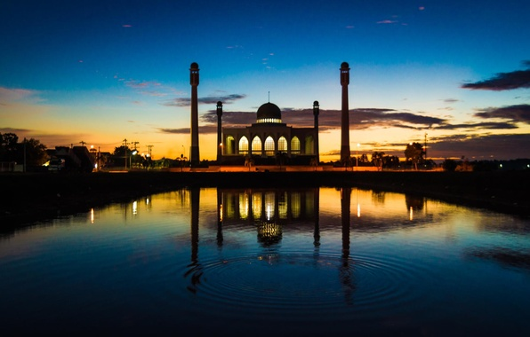 Picture sunset, the city, the building, fountain, mosque