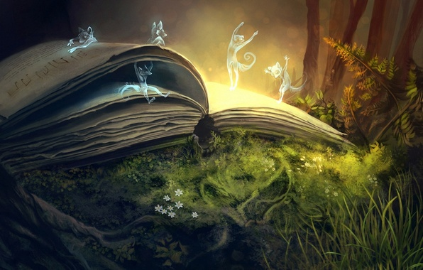Picture forest, flowers, magic, perfume, art, book, fern