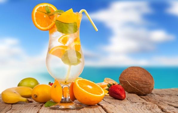 Picture ice, summer, lemon, glass, orange, coconut, strawberry, cocktail, lime, tube, drink, fruit, banana, citrus, cocktails