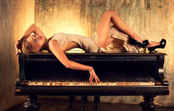 Picture girl, pose, figure, dress, keys, hairstyle, shoes, lies, legs, piano