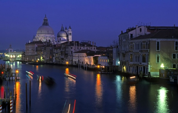 Picture water, light, night, the city, lights, bright, building, home, lighting, Italy, Venice, architecture, night city, …