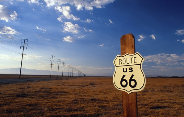 Picture road, field, the sky, landscape, mountains, road sign, Route 66
