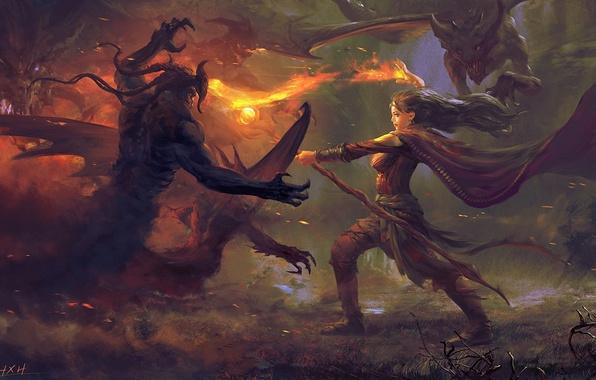 Picture girl, fire, magic, art, staff, battle, demons