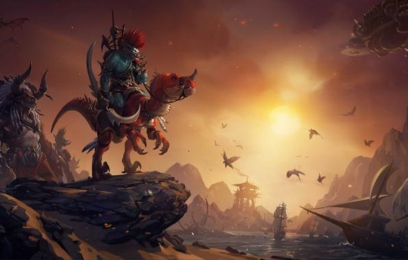 Picture sunset, birds, ships, lizard, wow, world of warcraft, Tauren, Troll, Troll, the leader, Horde, tauren, …