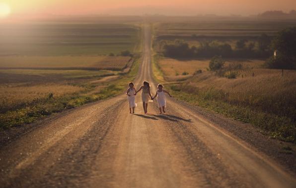 Picture road, joy, girls, field, running