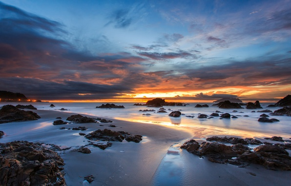 Picture sand, the sky, clouds, sunset, orange, clouds, stones, the ocean, blue, shore, coast, the evening, …
