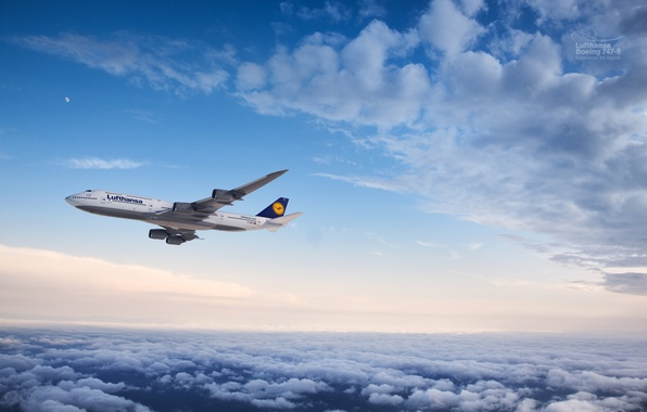 Picture Clouds, The plane, The moon, Flight, Boeing, Flight, Moon, Clouds, Boeing, Air, 747, Flying, Lufthansa, …