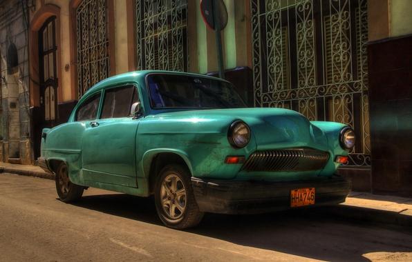 Picture retro, street, car, Cuba, Havana