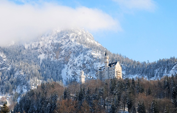 Picture winter, forest, the sky, clouds, snow, trees, mountains, castle, tower, Neuschwanstein, Bayern, Germany, Ludwig