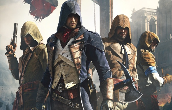 Picture Look, Cathedral, Light, Flag, Weapons, Hood, Ubisoft, Assassin's Creed, Ubisoft Montreal, Equipment, Arno, Arno, Assassin's …