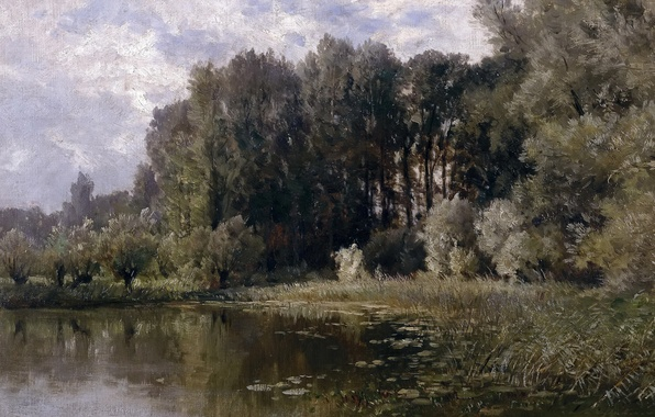Photo wallpaper trees, landscape, nature, picture, backwater, Carlos de Haes, Lake in Nijmegen