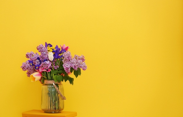 Picture flowers, yellow, background, bouquet, tulips, vase, lilac