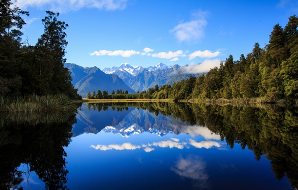 Picture forest, mountains, lake, reflection, New Zealand, New Zealand, Lake Matheson, Southern Alps, Southern Alps, Lake …