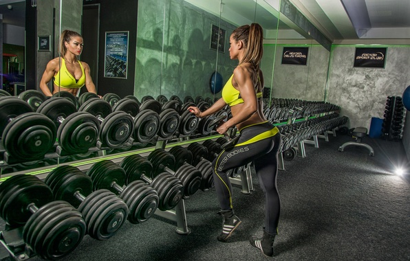 Picture woman, reflection, mirror, workout, fitness, gym, dumbbells