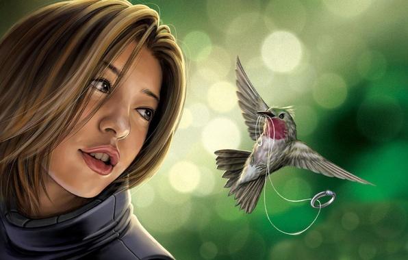 Picture girl, fantasy, bird, ring