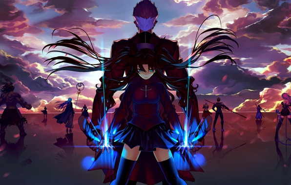 Picture the sky, clouds, sunset, weapons, girls, magic, sword, anime, art, guys, saber, lancer, rider, gilgamesh, ...