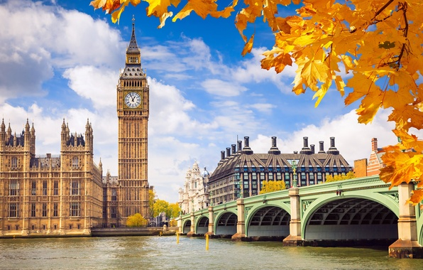 Picture autumn, the sky, leaves, clouds, bridge, river, background, England, London, building, yellow, UK, Thames, Big …