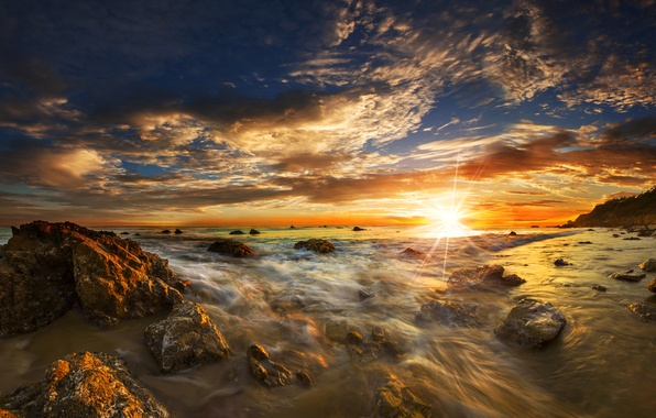 Picture sea, the sky, the sun, rays, sunset, stones, dawn, coast, horizon, surf