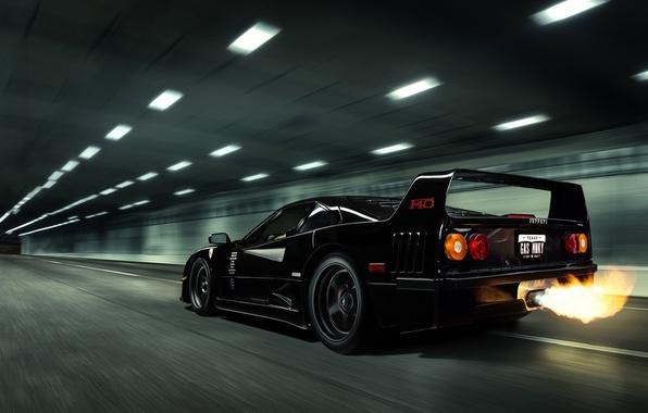 Picture Black, Ferrari, Ferrari, F40, Flame, Black, F40, Gas Monkey