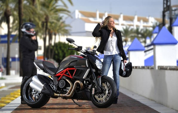 Picture girl, background, blonde, motorcycle, bike, Ducati, Ducati, Diavel, Diavel