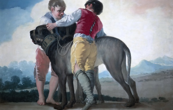 Picture picture, genre, Francisco Goya, Children with Dogs