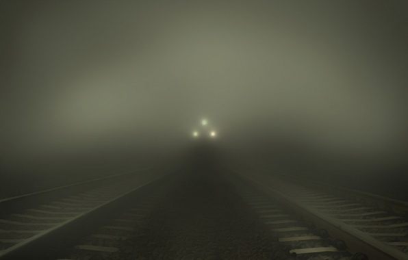 Picture light, night, lights, lights, fog, darkness, stones, situation, lights, rails, train, the evening, railroad, haze, …