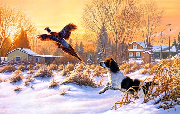 Picture winter, snow, nature, sunrise, bird, dog, painting, art, fly, Frank Of Central City, Getting Up, …