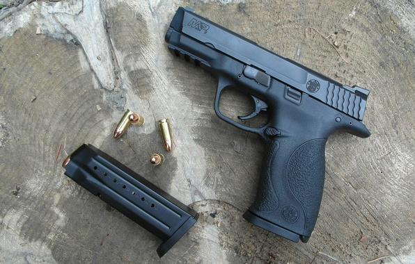 Picture gun, stump, bullets, clip, Smith & Wesson M&P9