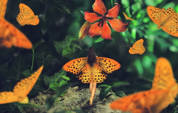 Picture girl, butterfly, Lily, wings, Wonderland journey, Maria Mazuch