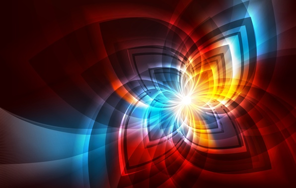 Picture line, fractals, glow, fractal pattern