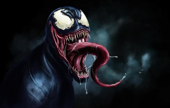 Picture Black, Venom, Spider Man, tongue