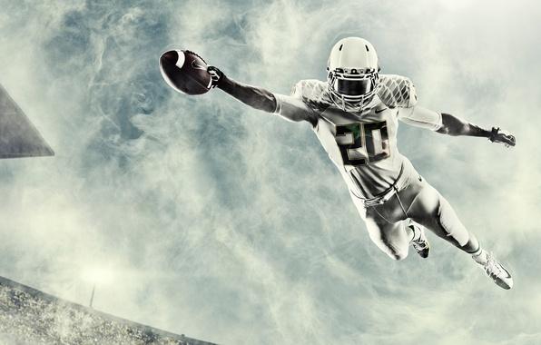 Picture jump, the ball, helmet, athlete, Oregon, American football, NCAA, college football