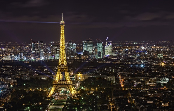 Picture night, lights, Eiffel tower, France, Paris, panorama
