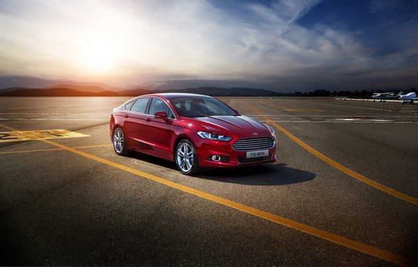 Picture photo, Ford, car, metallic, Burgundy, Mondeo, 2015