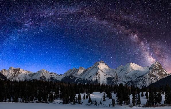 Picture Landscape, Night, Snow, San, Milky Way, Mountains, Durango, Garfield, Colorado, Range, Lake, Grenadier, Electric, Peak, …