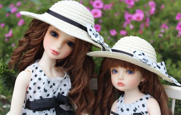 Picture doll, doll, polka dot, hats, bows, blue eyes, blue eyes, doll, BJD