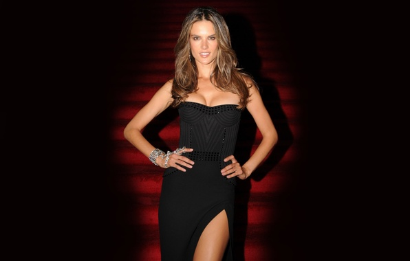 Picture chest, girl, face, sexy, smile, background, model, body, figure, dress, steps, Alessandra Ambrosio, sexy, beauty, …