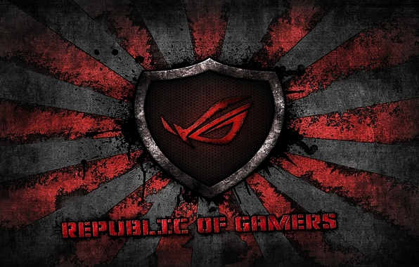 Picture red, logo, grey, background, brand, asus, rog, republic of gamers, asus gamer, sunburst