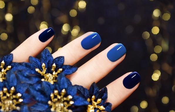 Picture macro, background, fingers, flowers, nails, blue, manicure