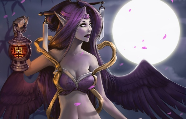 Picture girl, night, the moon, wings, petals, art, lantern, ears, League of Legends, aomori, Morgana