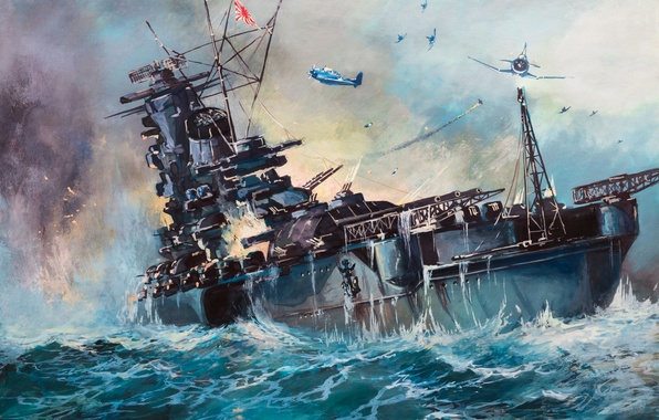 Picture attack, ship, oil, explosions, bursts, Japan, battle, art, watercolor, theatre, USA, Navy, military, sea, painting, …