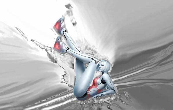 Picture girl, rendering, robot