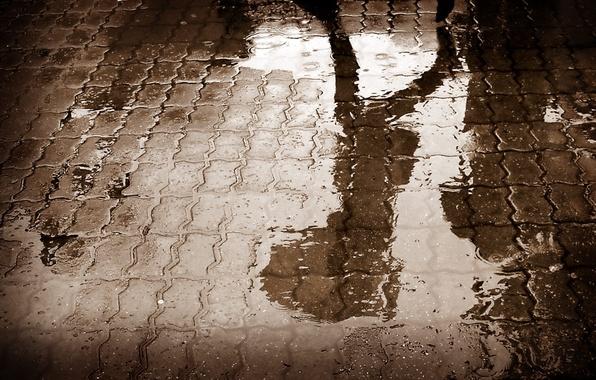 Picture road, asphalt, water, reflection, rain, shadow