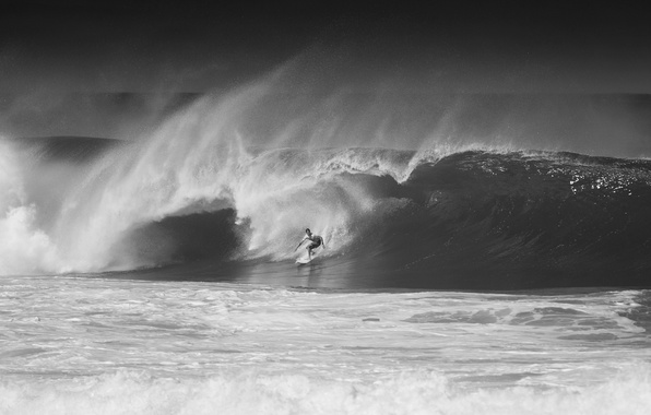 Picture the ocean, wave, Hawaii, black and white photo, Oahu, North Shore, serfingist