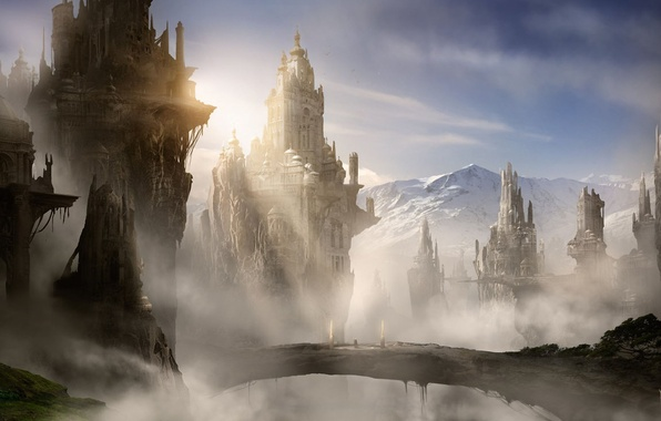Picture clouds, snow, mountains, bridge, the city, fog, castle, rocks, art, tower, the sun's rays