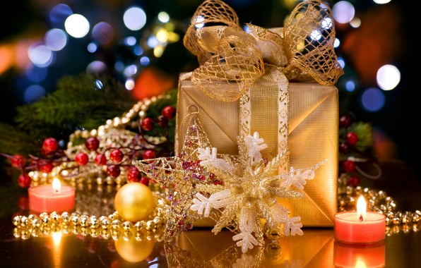 Picture decoration, fire, holiday, box, gift, candle, bow