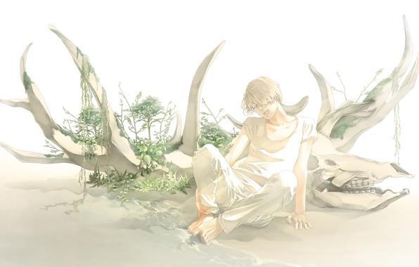 Picture water, skull, plants, horns, guy, art